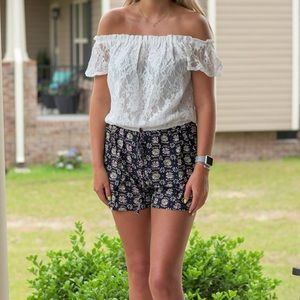 Off the Shoulder Lace and Floral Romper